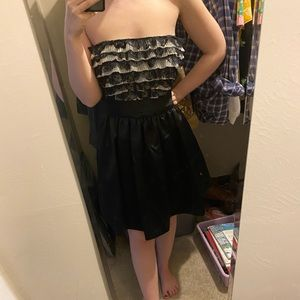 NWOT ABS tuxedo satin and lace party dress